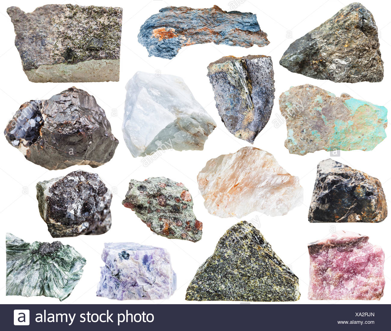 collection of natural mineral rock stone isolated - Stock Image