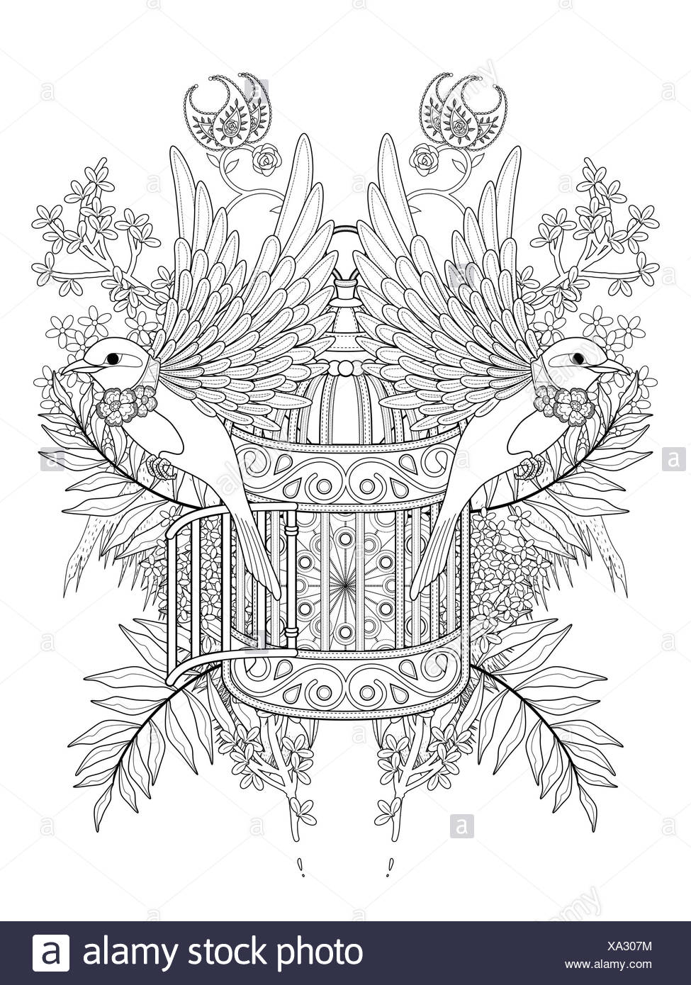 Blessing Bird Adult Coloring Page With Floral Elements