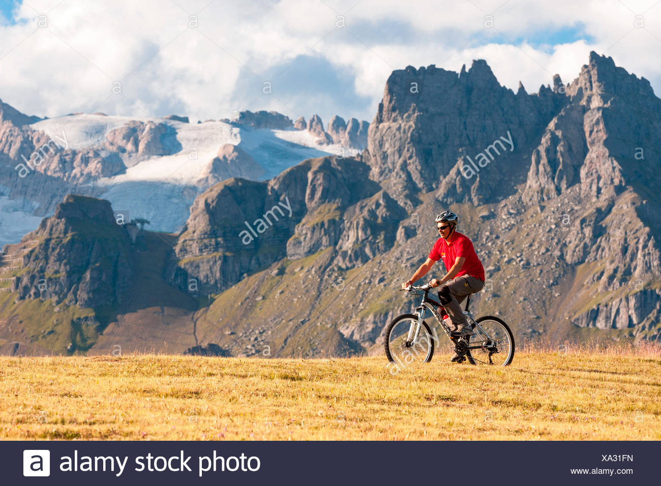 MTB on Cherz alp. Arabba, Veneto, Italy. - Stock Image