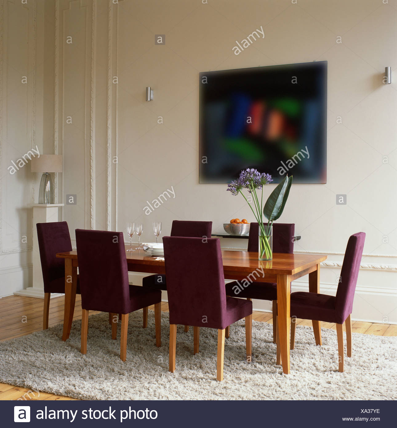 Purple Upholstered Chairs At Plain Wood Table In Modern