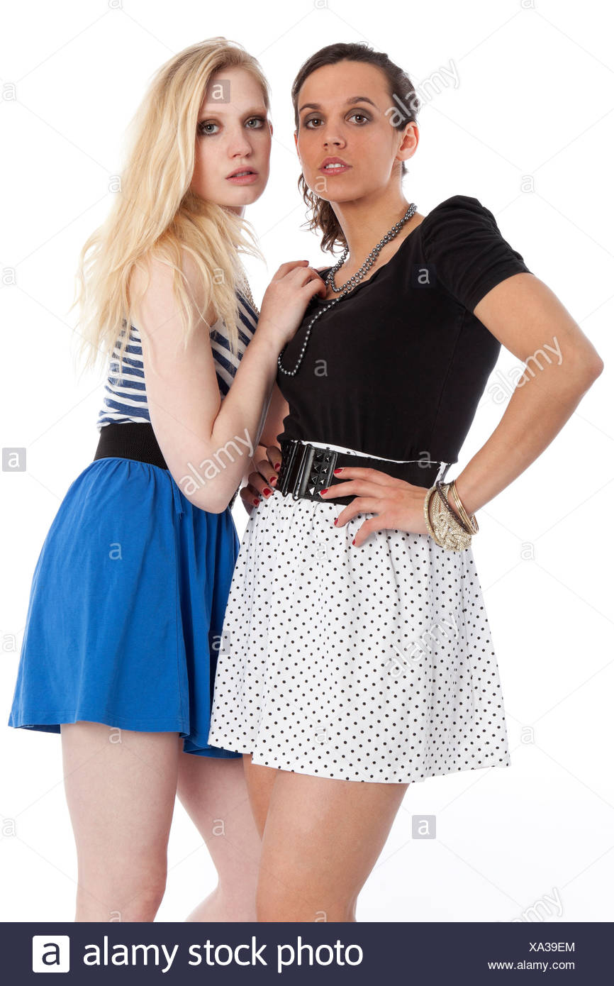 Something two young teen girls in miniskirt think