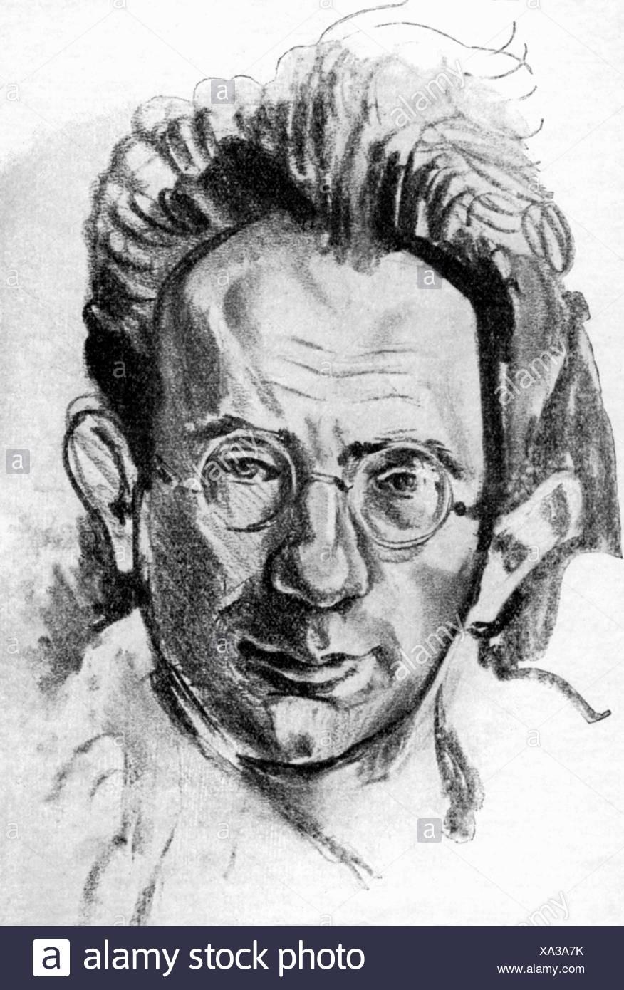 Kornfeld, Paul, 11.12.1889 - 25.4.1942, German dramatist, portrait, chalk drawing by F. K. Delavilla, Additional-Rights-Clearances-NA - Stock Image