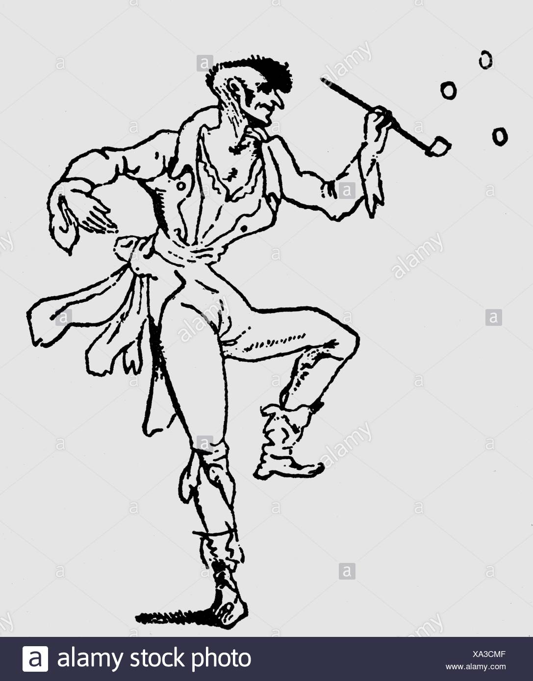 Hoffmann, E.T.A., 24.1.1776 - 25.6.1822, German author / writer (poet), illustration of 'The maniac Kreisler', Additional-Rights-Clearances-NA - Stock Image