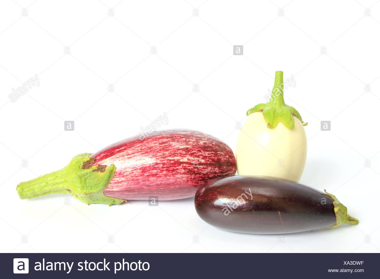 different types of aubergines Stock Photo