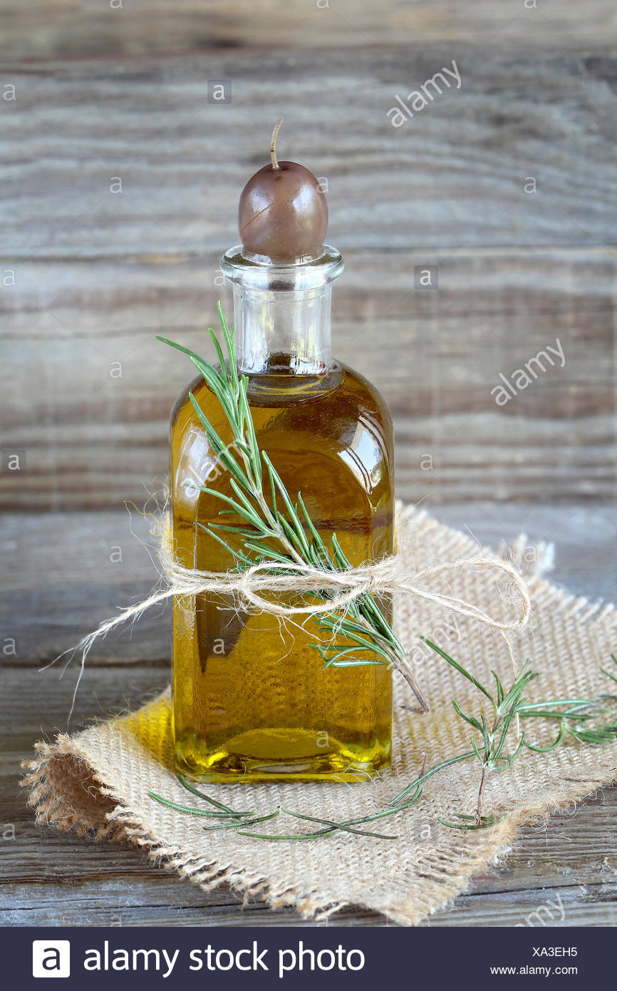 Olive oil and rosemary - Stock Image