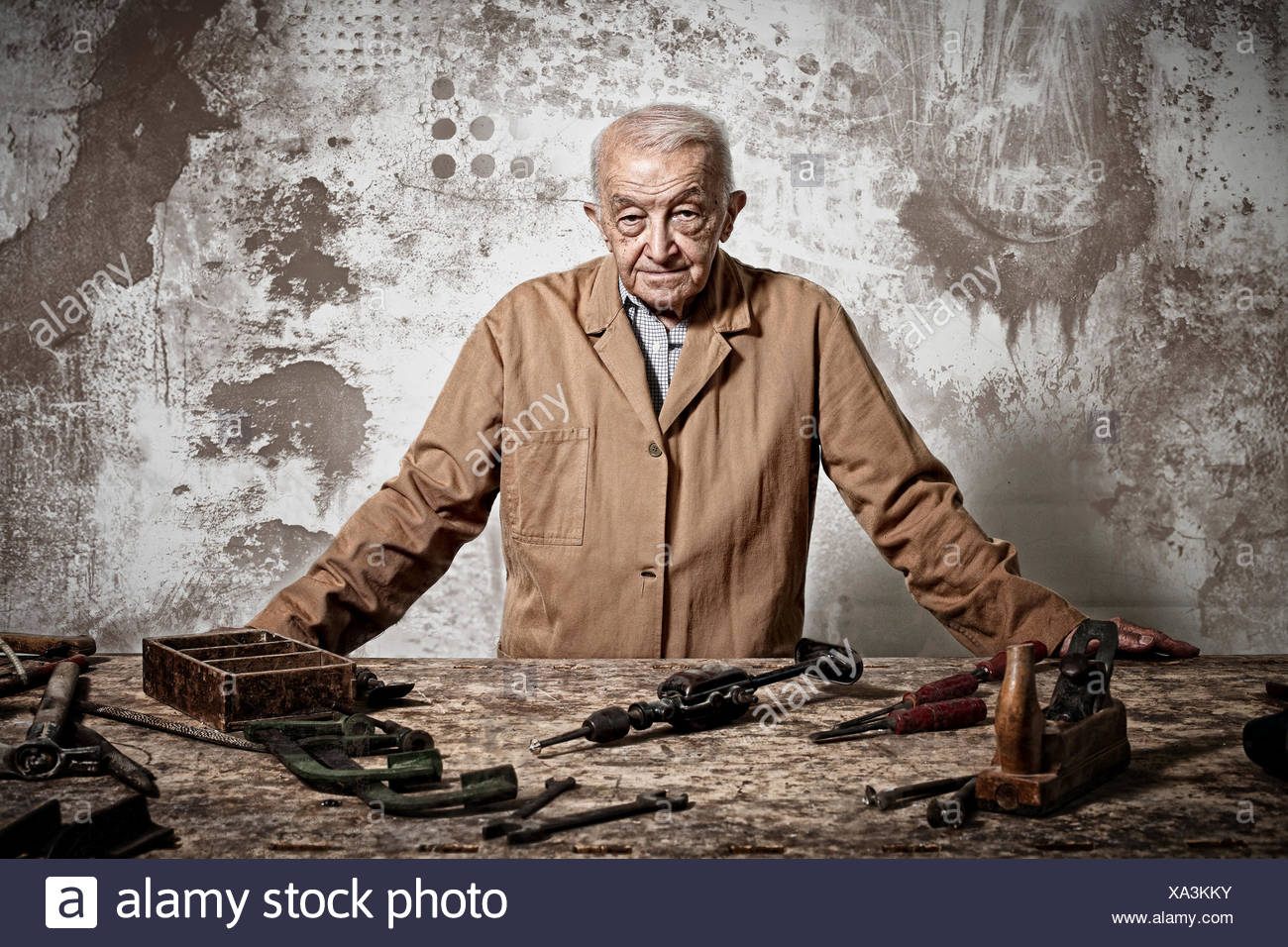 old manual worker - Stock Image