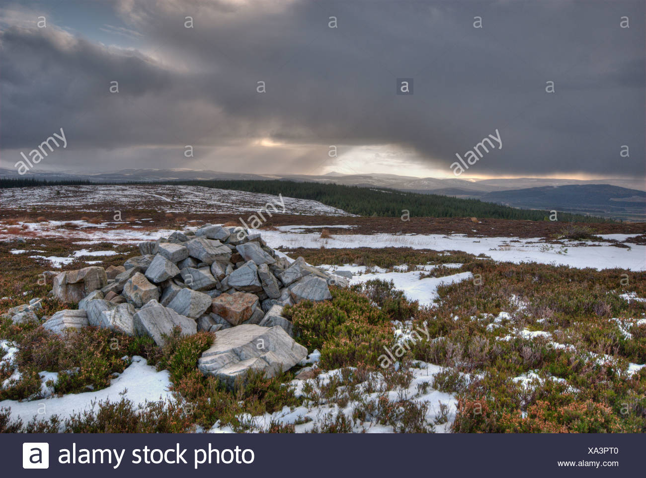 Cairn halfway Meikle Balloch Hill with views in south/east direction. - Stock Image