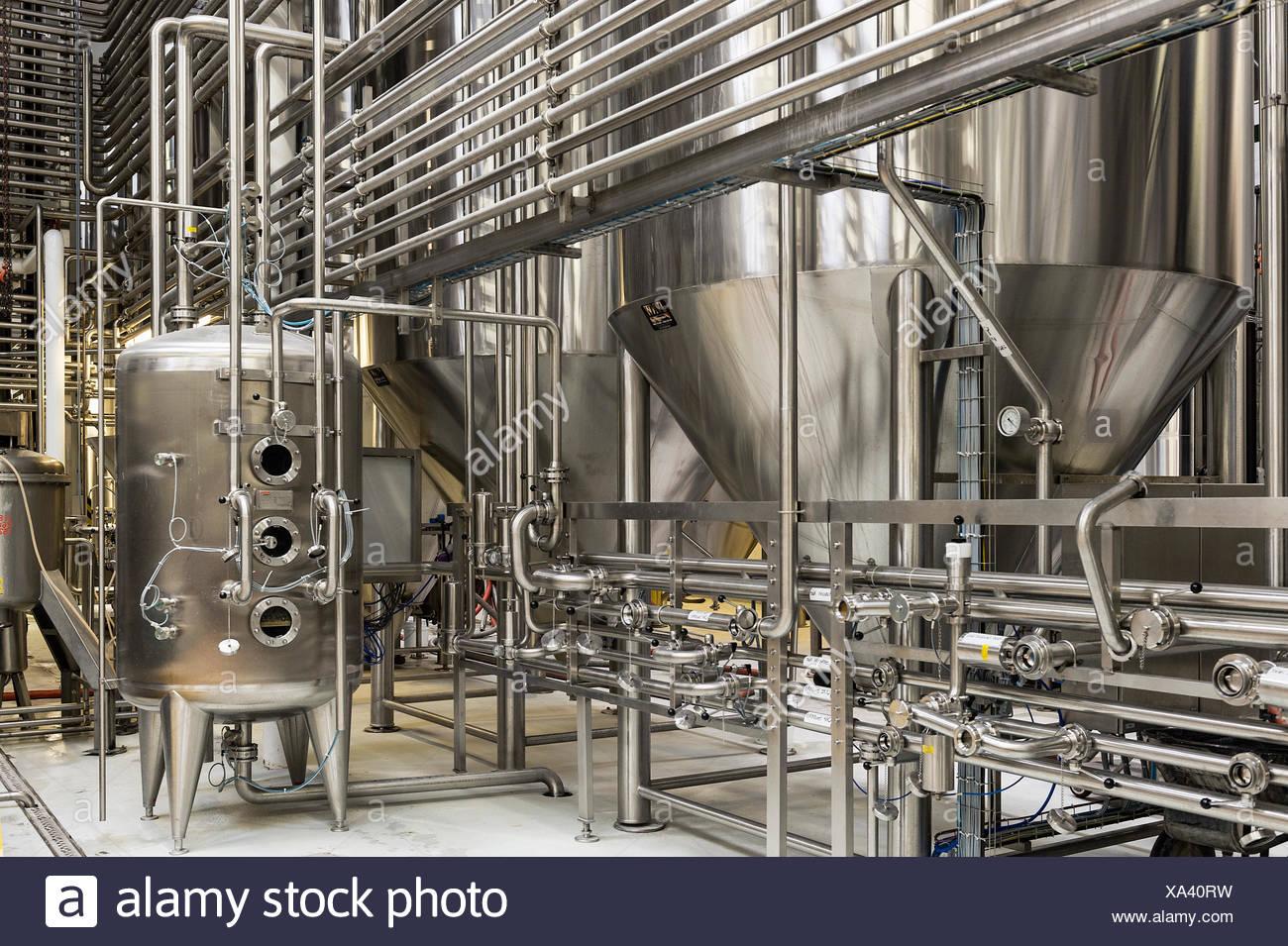 Brewery fermentation tanks. - Stock Image