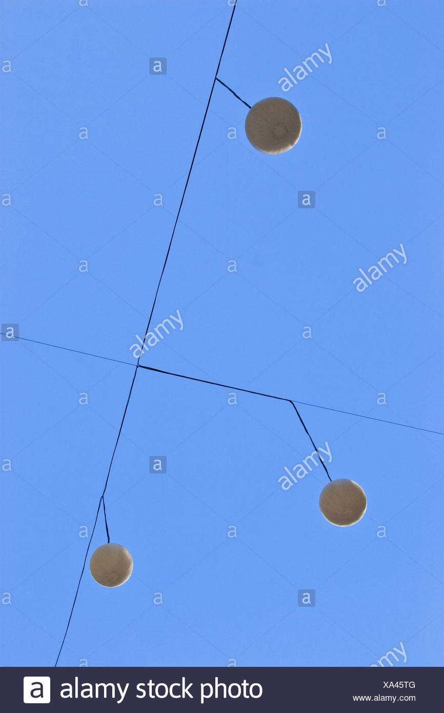 Cable, lamps, from below, - Stock Image
