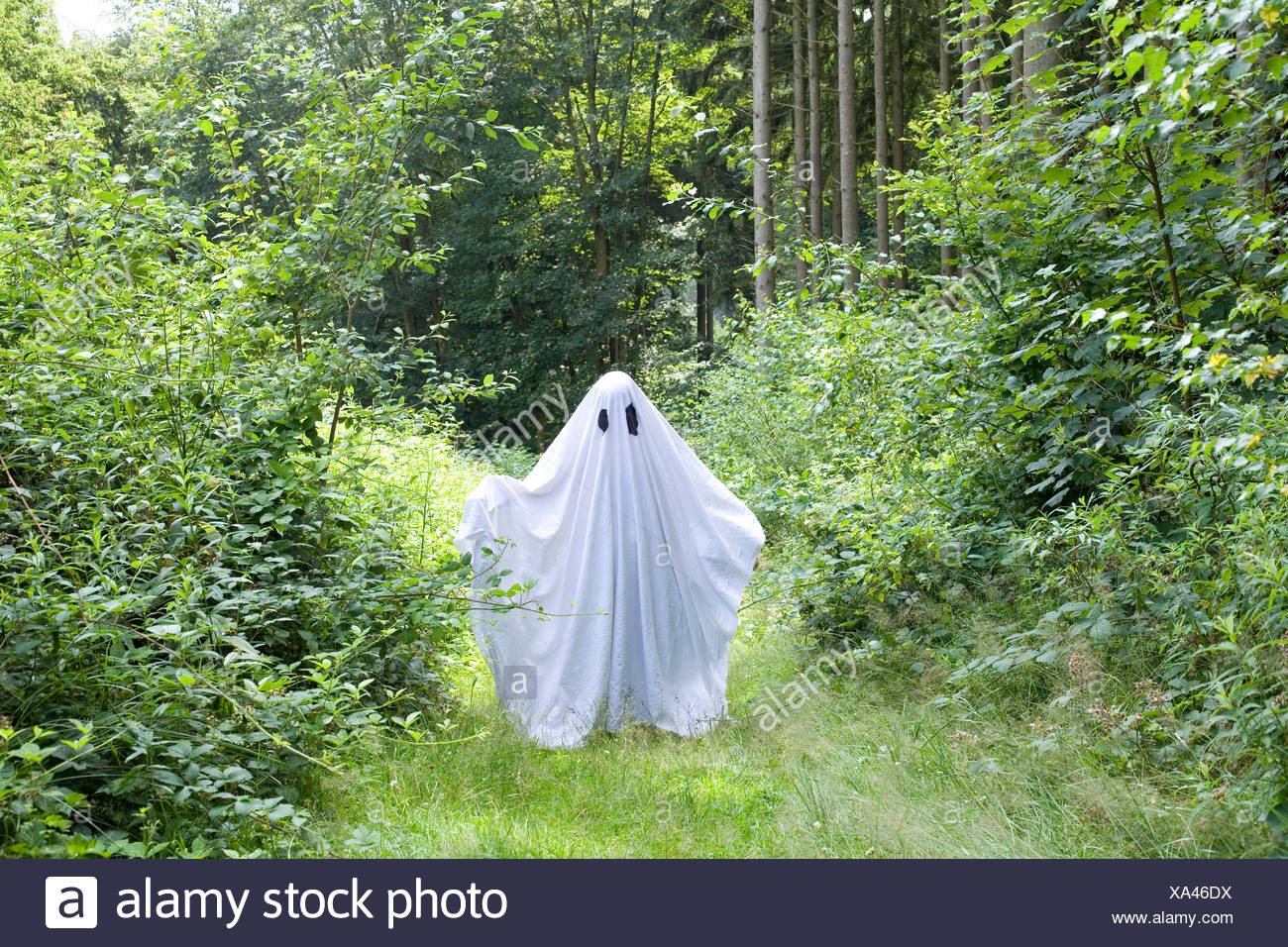 a white ghost in forest Stock Photo