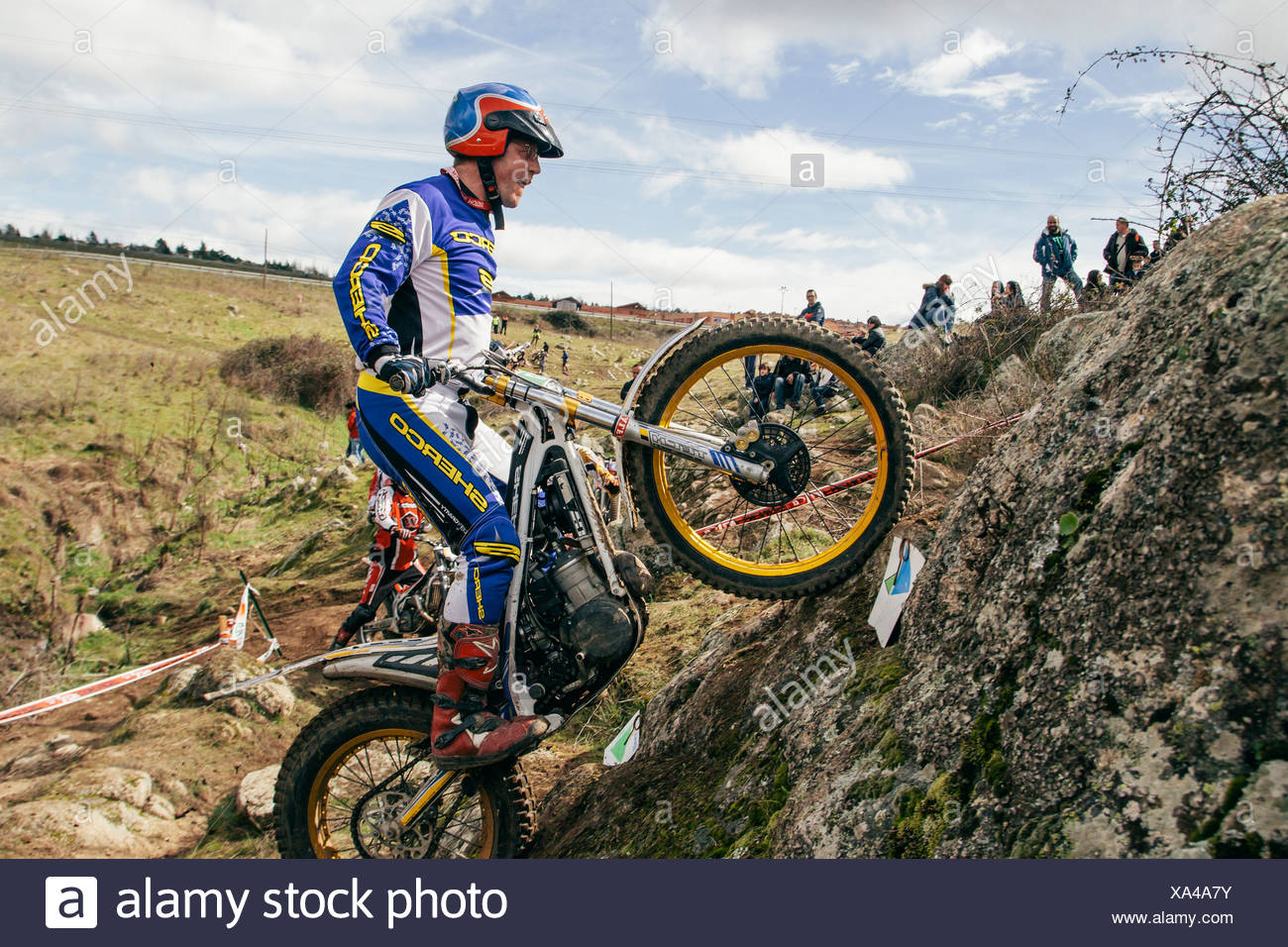 Spain, Madrid, El Molar, Motorcycle trials competition - Stock Image