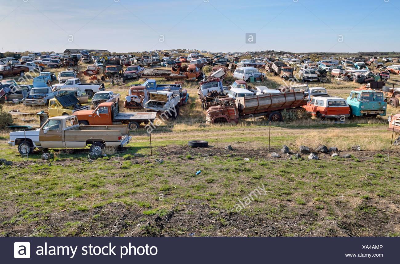 Breakers' yard, Wendell, Highway 46, Idaho, USA, PublicGround - Stock Image