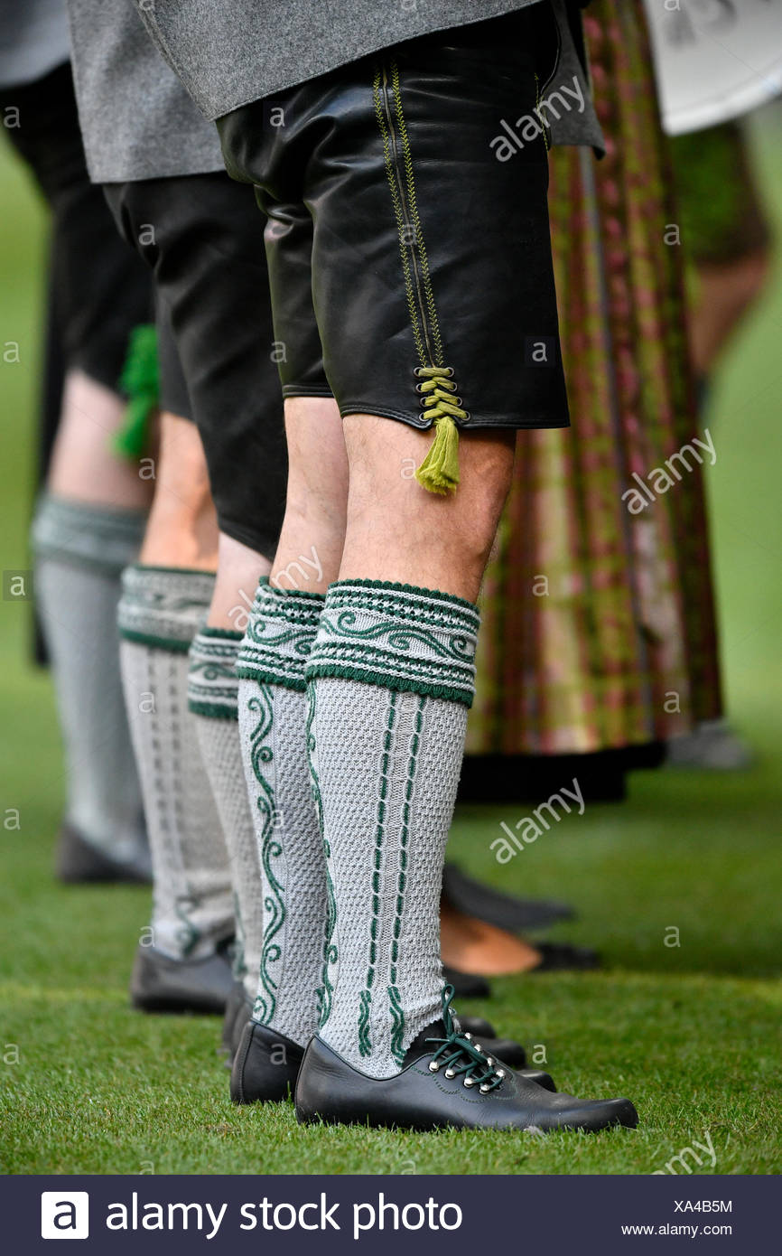 Short lederhosen traditional costume, Munich, Upper Bavaria, Bavaria, Germany - Stock Image