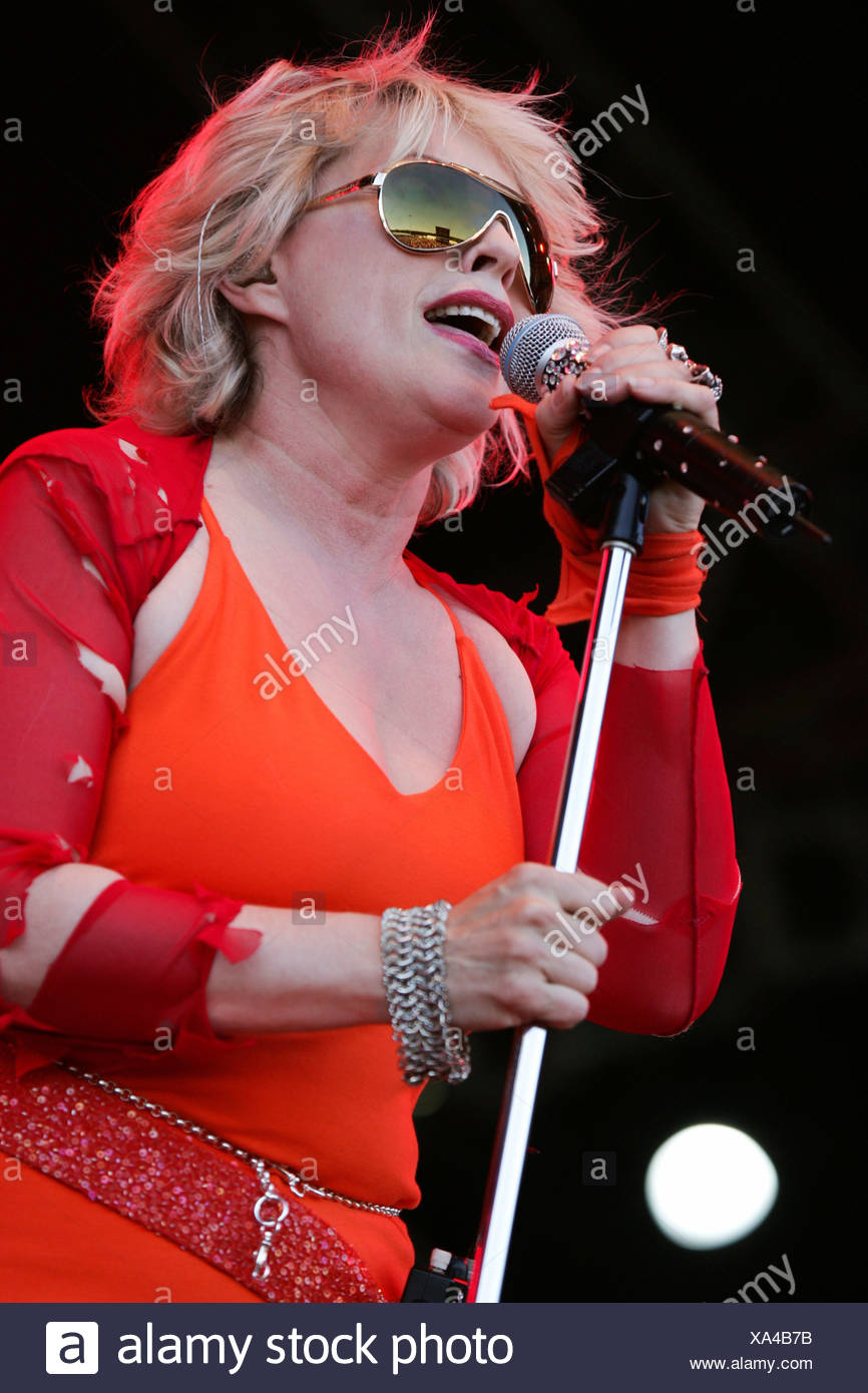 Deborah Harry, singer of the US new-wave band Blondie, live at the Spirit of Music Open Air in the Uster football stadium near  - Stock Image