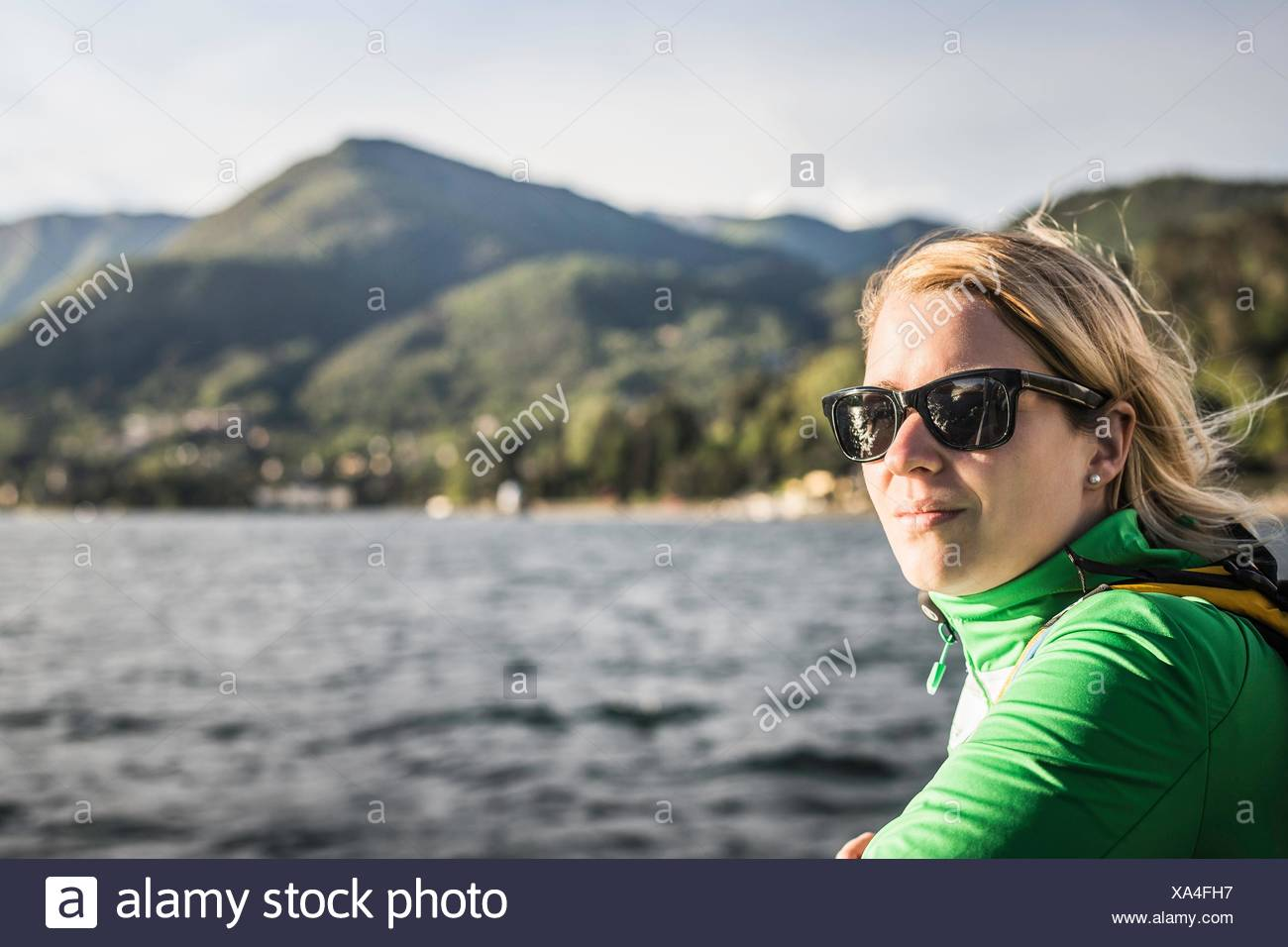 Portrait of young woman, Lake Como, Italy - Stock Image