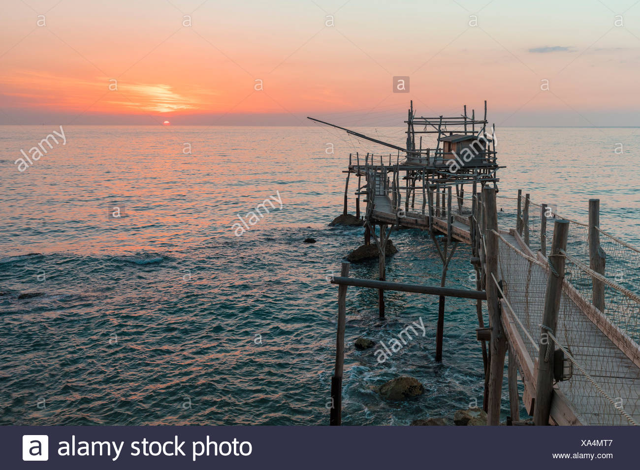 View of Costa dei Trabocchi, Trabocco is an old fishing machine typical of the coast of Abruzzo District, Adriatic Sea, Italy - Stock Image