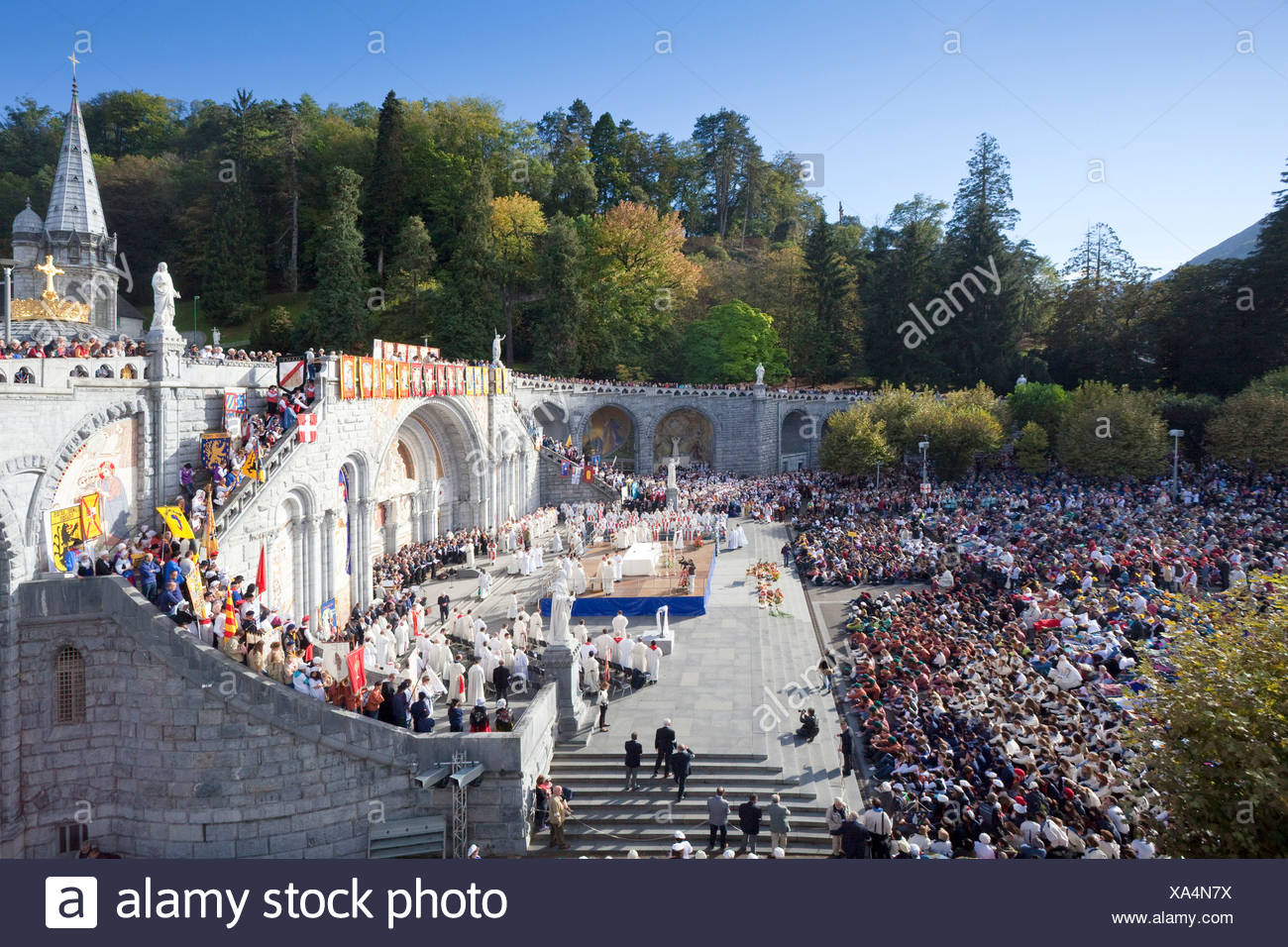 France, Europe, Lourdes, Pyrenees, place of pilgrimage, hope, miracle, disabled, hinders, believers, creditors, religion - Stock Image