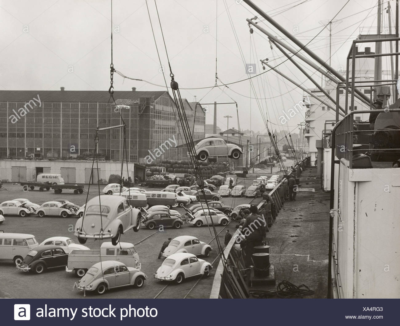 Germany Harbour Freighter Cranes Workers Vw Beetle Load B W