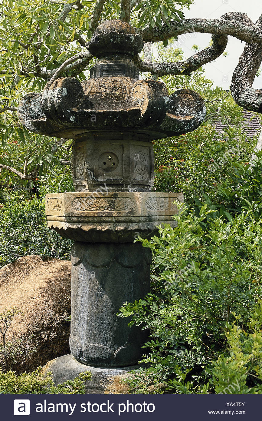 USA, Florida, Miami, Morikami Japanese Gardens, Large Stone Lantern