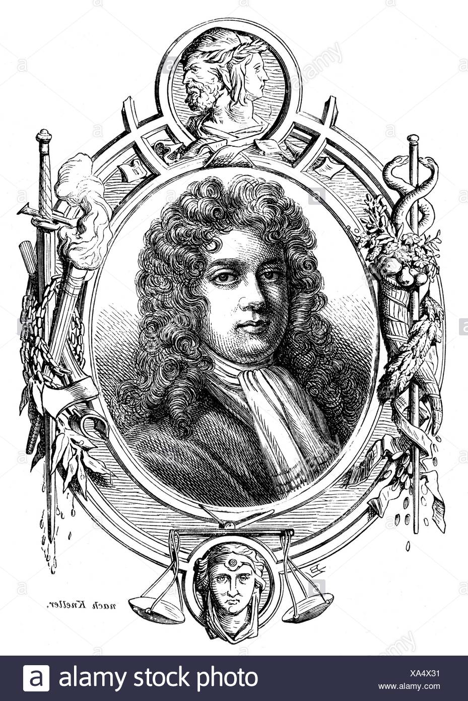 Montagu, Charles, 1st Duke of Manchester, 1656 - 20.1.1722, English politician, portrait, wood engraving, 19th century, Additional-Rights-Clearances-NA - Stock Image