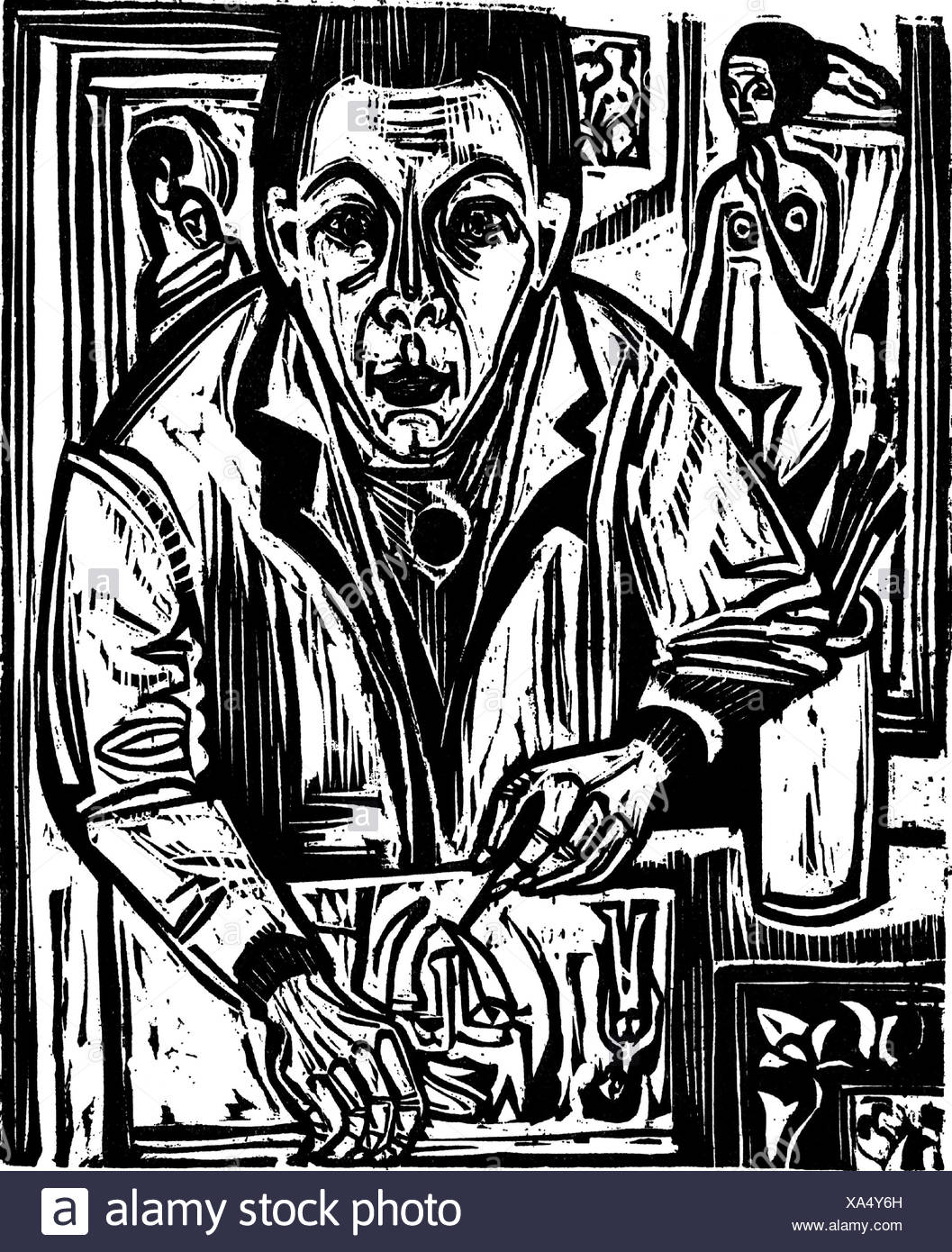 Kirchner, Ernst Ludwig , 6.5.1880 - 15.6.1938, German painter, printmaker, works, self-portrait, drawing, woodcut, 1921, Additional-Rights-Clearances-NA - Stock Image