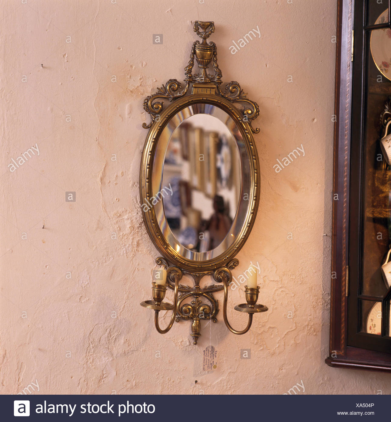 Close Up Of A Gilt Antique Wall Mirror With Integral Candle Holders Stock Photo Alamy