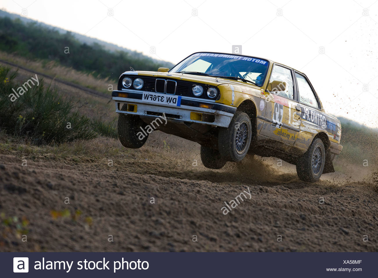 BMW 318is jumping, Lausitz Rally, motorsports, Saxony, Germany, Europe - Stock Image
