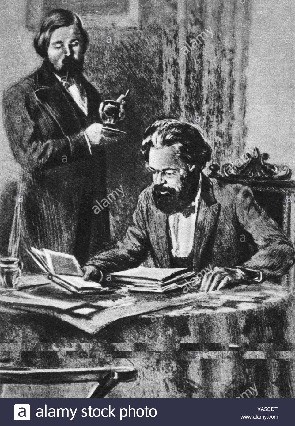 Marx, Karl, 5.5.1818 - 14.3.1883, German philosopher and journalist, half length, with Friedrich Engels, working, drawing by N. N. Zhukov, 20th century Stock Photo - Alamy