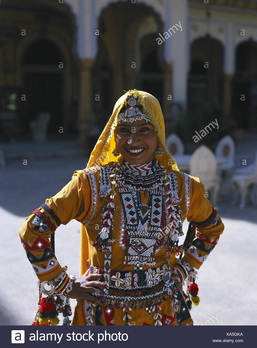 0bb394b1f6 India, Rajasthan, Jaipur, Indian, national costume, half portrait woman,  young, clothes, traditionally, national costume, jewellery, outside