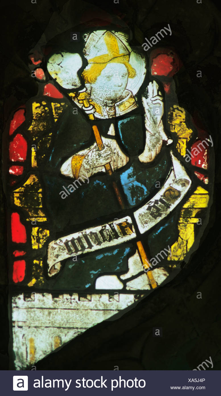 Wiggenhall St. Mary Magdalene, Norfolk, St. Aldhelm, Bishop of Shernbourne, d. 709 AD English medieval stained glass window Stock Photo