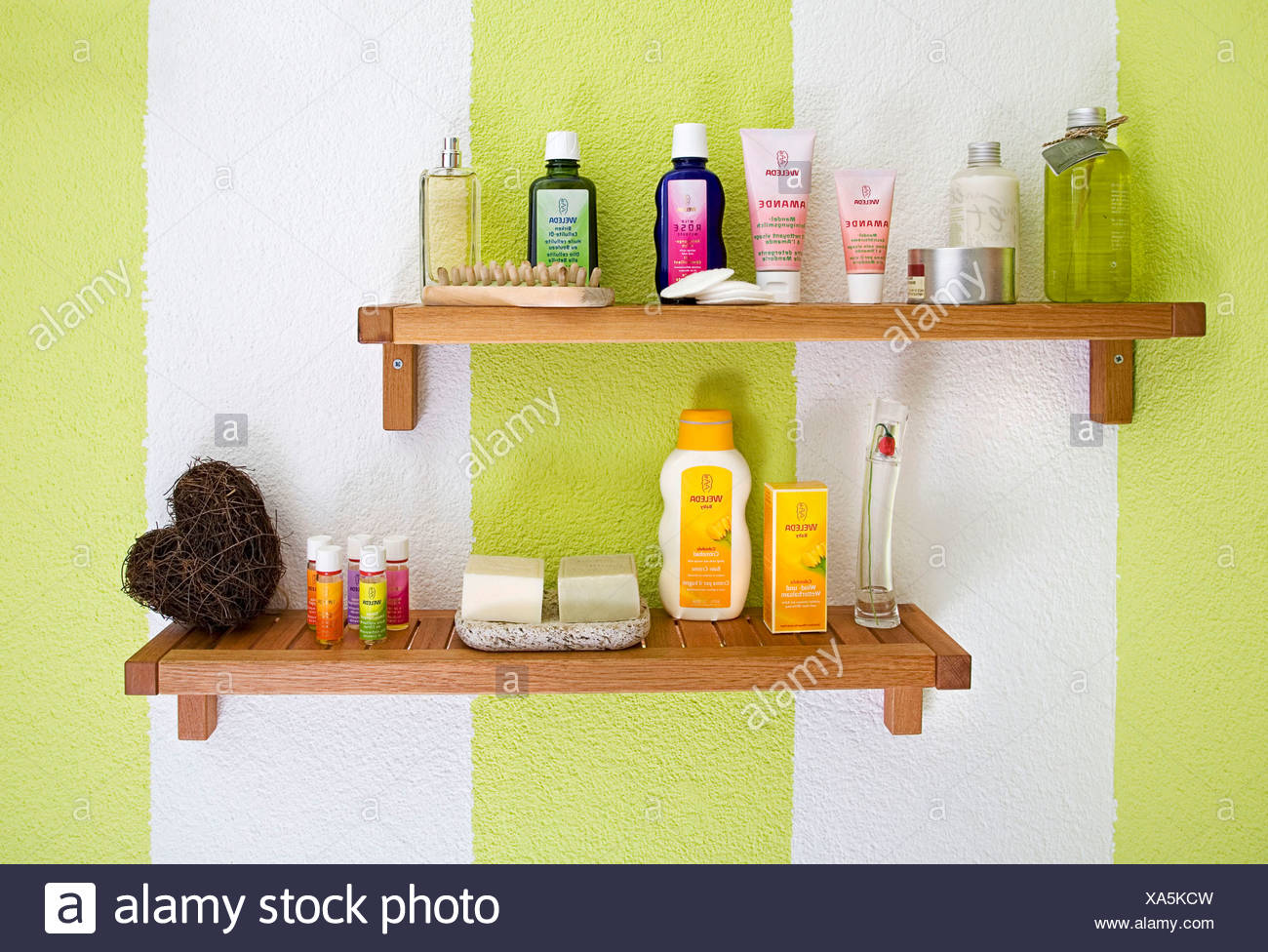 Shelf in a bathroom, body care products Stock Photo