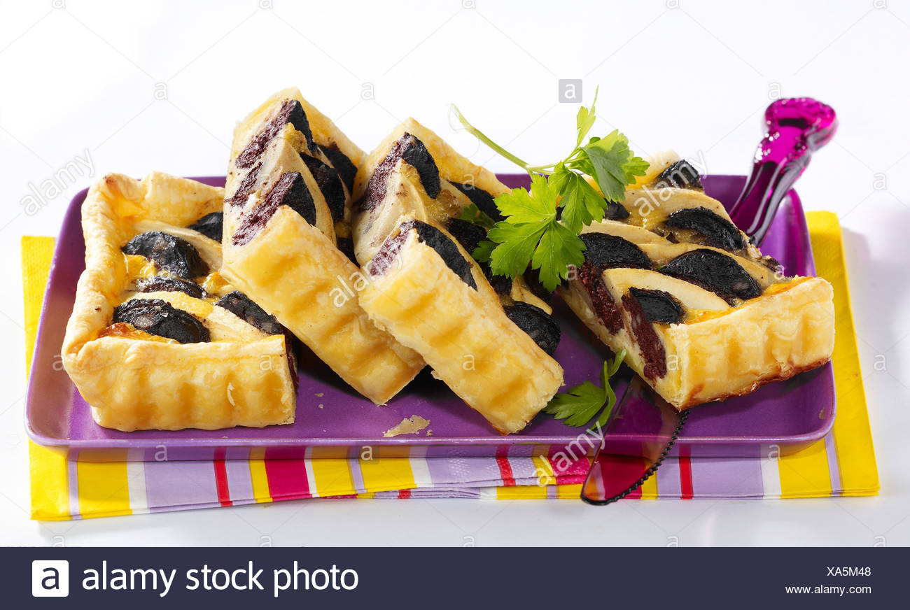 Apple pie and blood sausage - Stock Image
