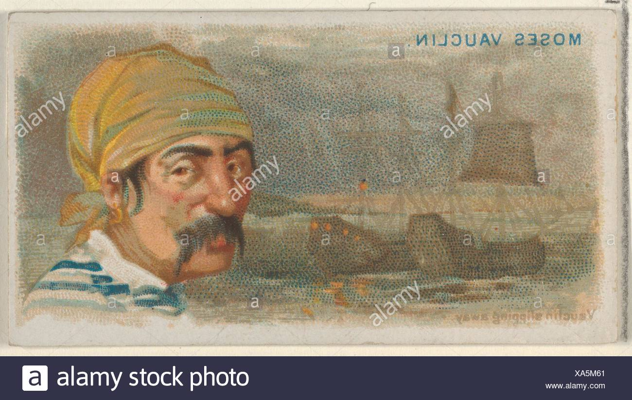 Moise Vauquelin, Vauquelin Slipping Away, from the Pirates of the Spanish Main series (N19) for Allen & Ginter Cigarettes. Publisher: Allen & Ginter - Stock Image