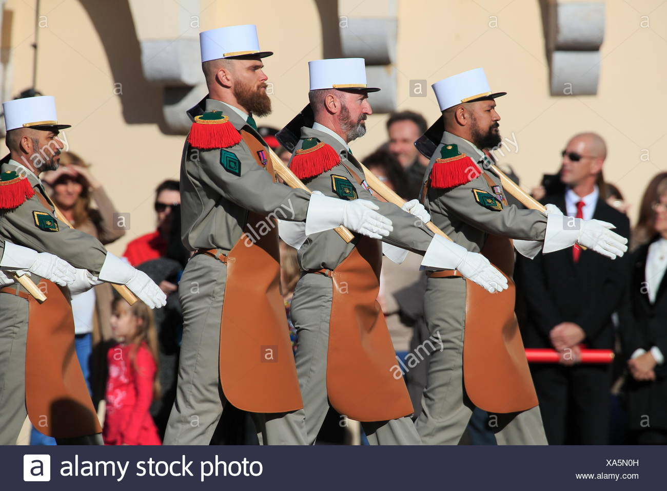 Parade in front of the Prince's Palace, National Fête du Prince, Principality of Monaco - Stock Image