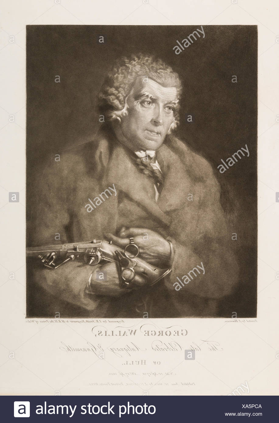 George Wallis, The Late Celebrated Antiquary and Gunsmith of Hull. Engraver: Engraved by John Raphael Smith (British, baptized Derby 1751-1812 - Stock Image
