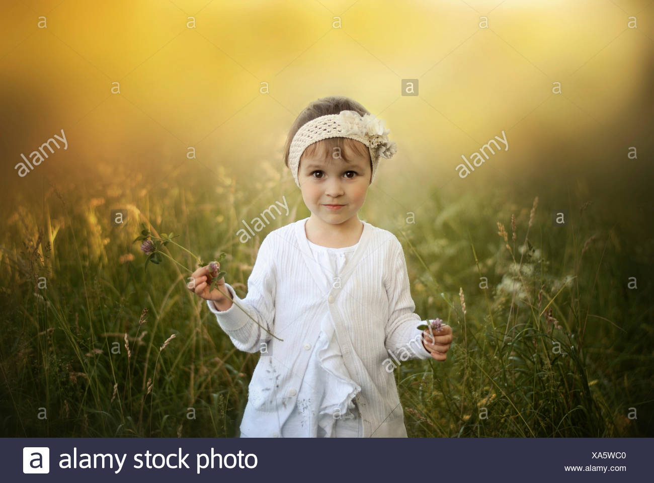 Girl standing in field - Stock Image