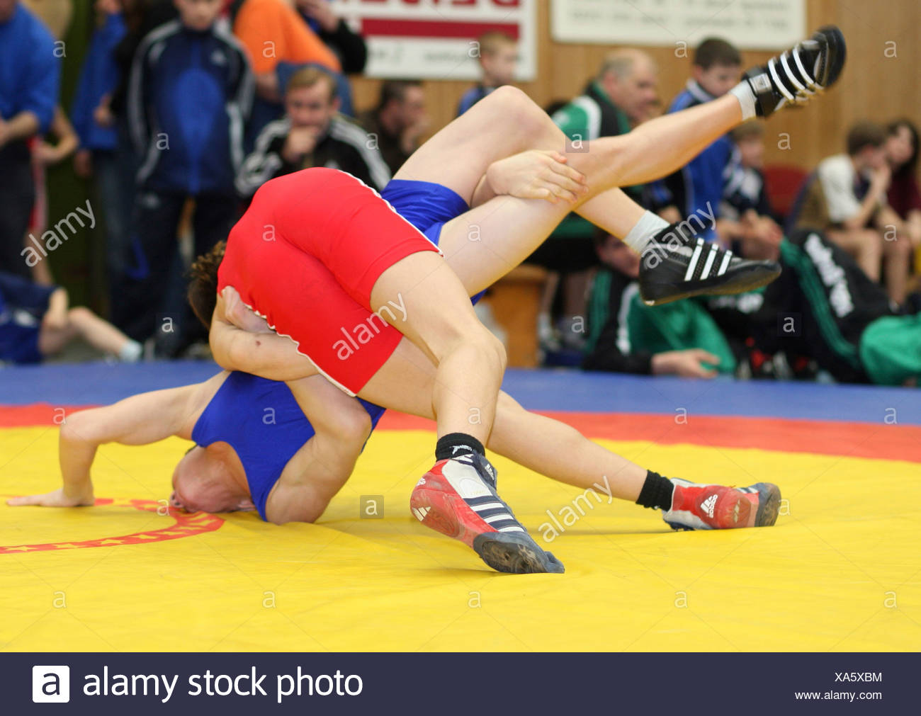 Wrestlers during a match - Stock Image