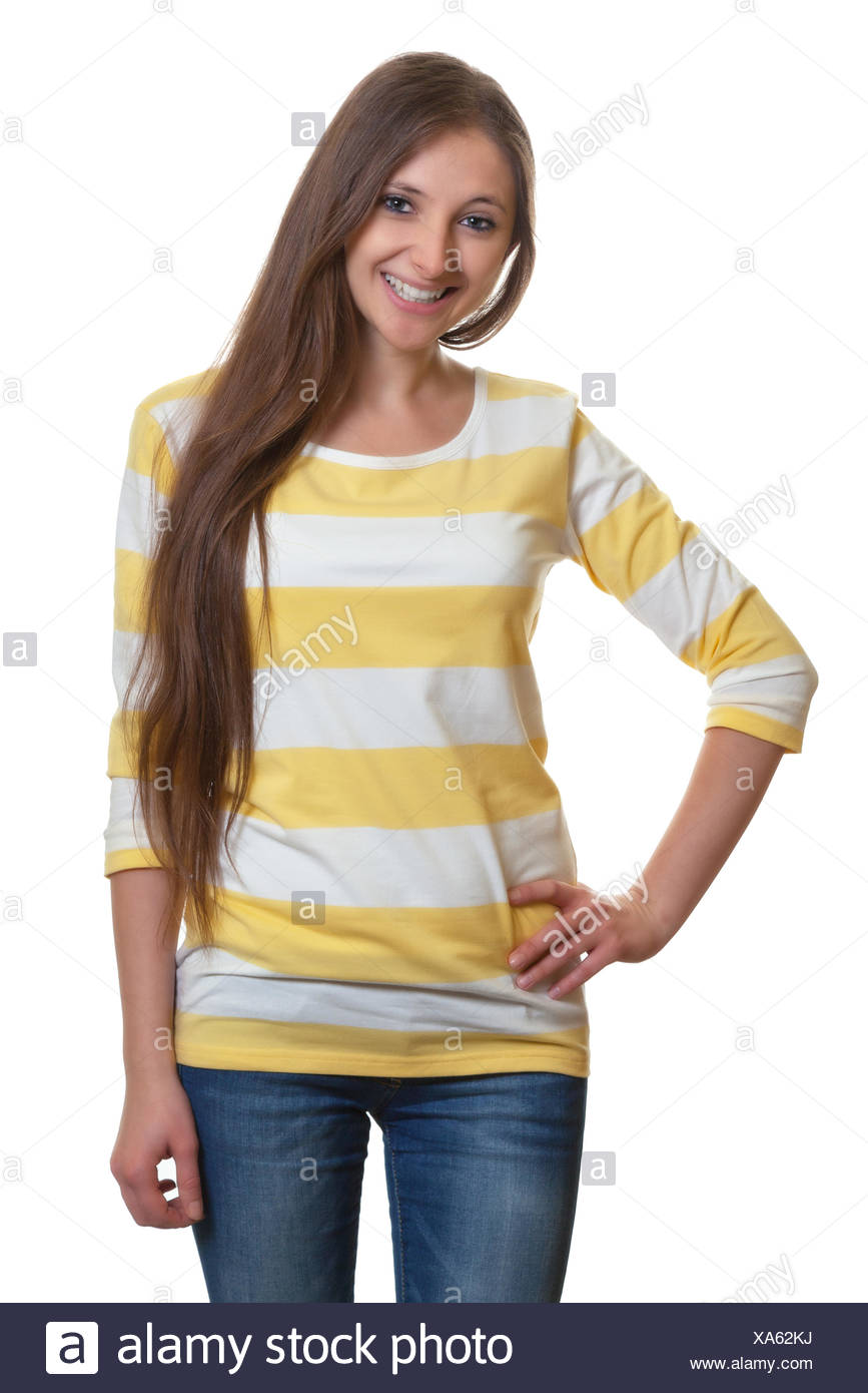 Standing woman with long brown hair - Stock Image
