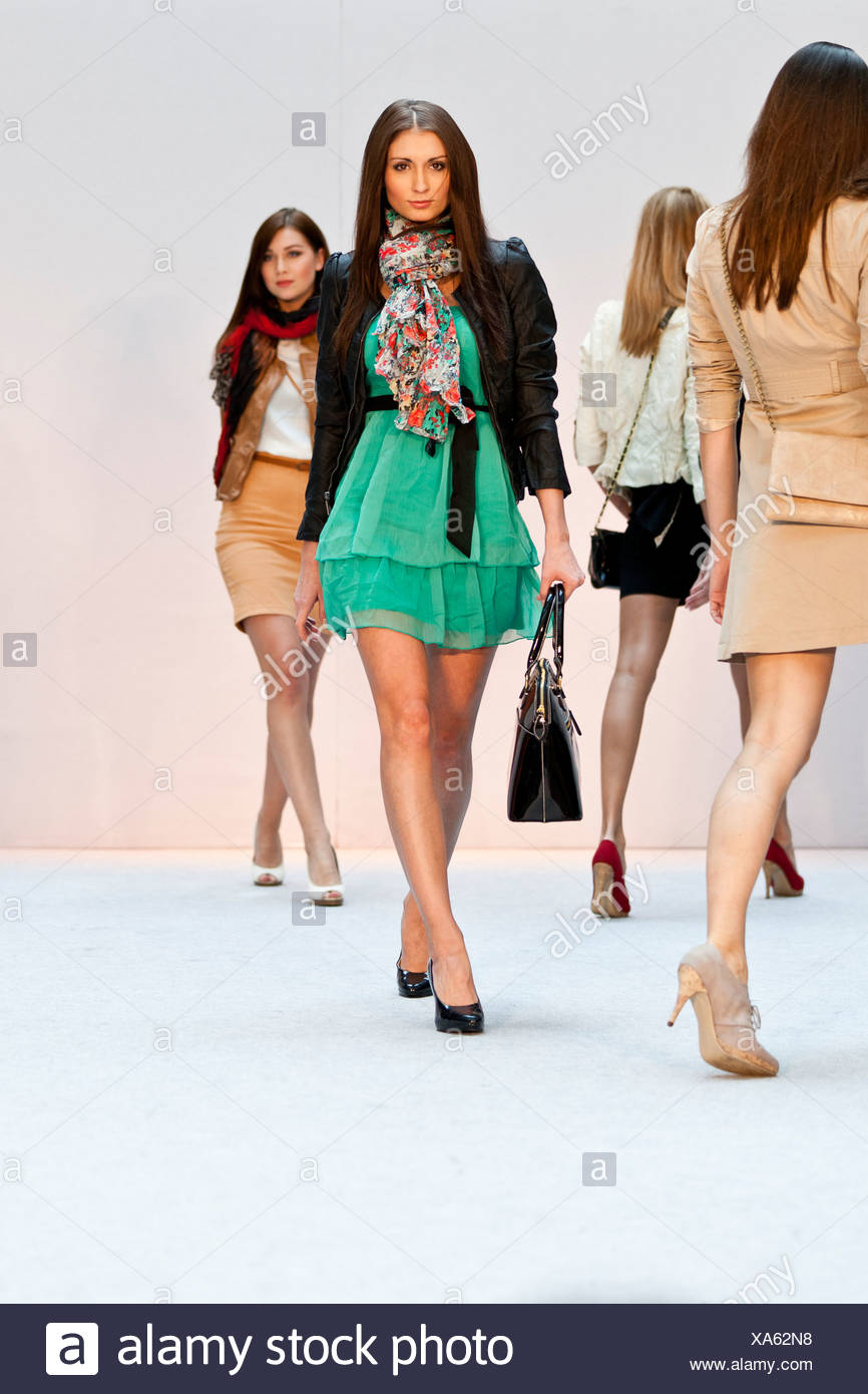 Young women, models in the Spring and Summer Fashion Show 2012 in Pilatusmarkt in Kriens, Lucerne, Switzerland, Europe - Stock Image