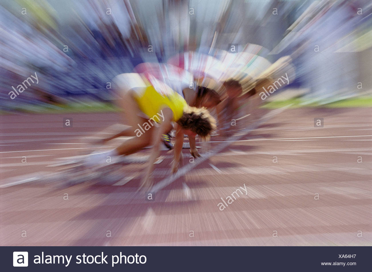 sport short distances run no model release athletes start phase zoom effect - Stock Image