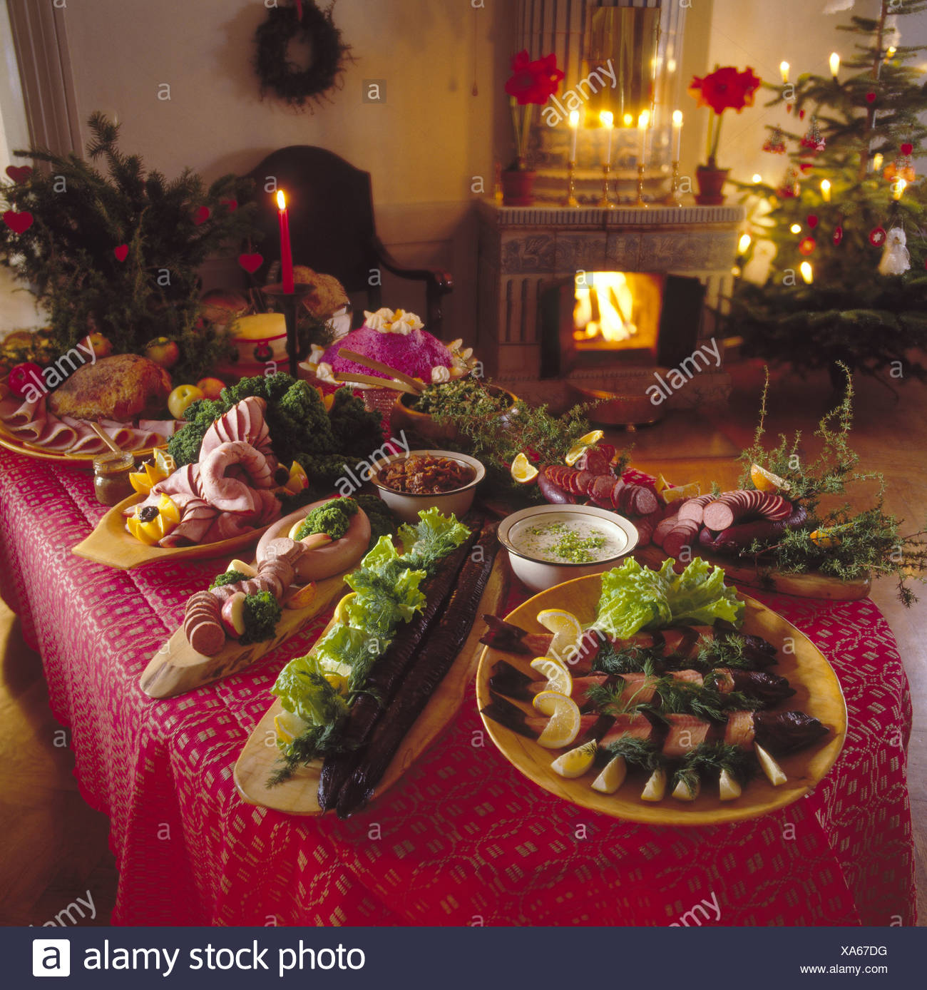 Christmas Food Decorations On Dinner Table Stock Photo 281650028