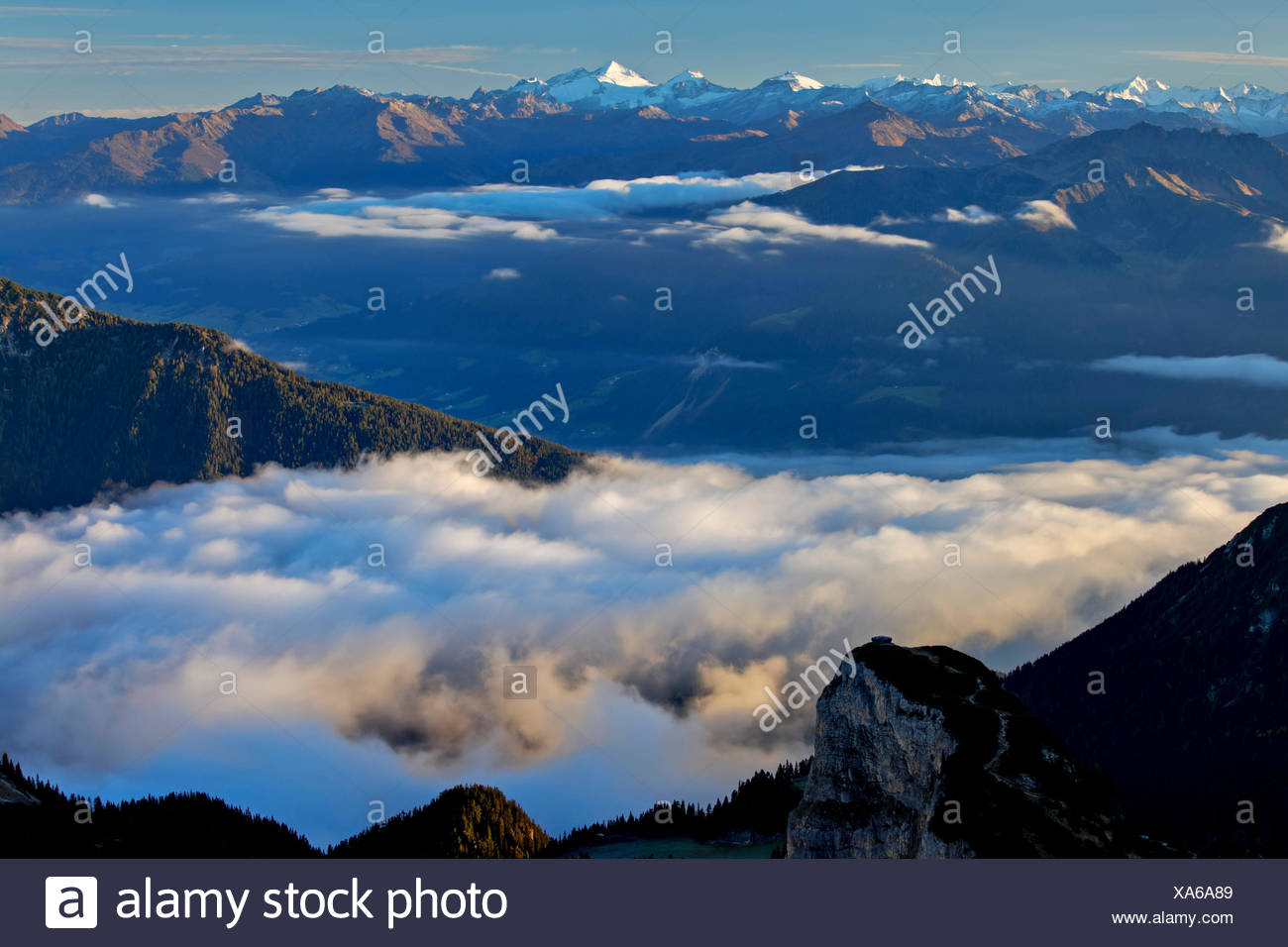 Austria, Tyrol, Rofan, Rofangebirge, Hochiss, Großer Möseler, Hochfeiler, Stock Photo