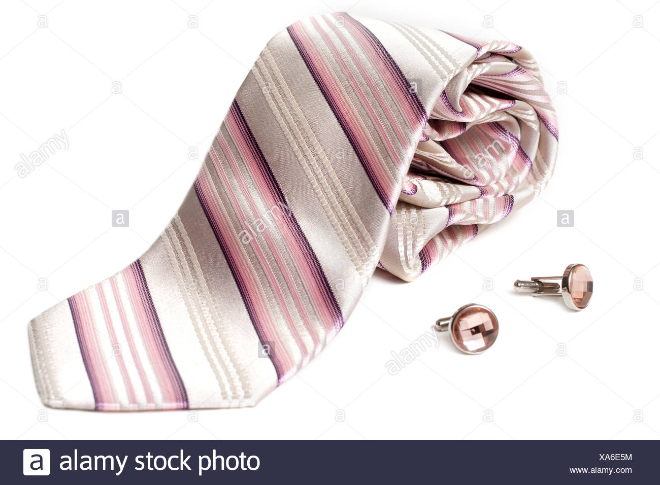 Rose striped tie and cuff links Stock Photo