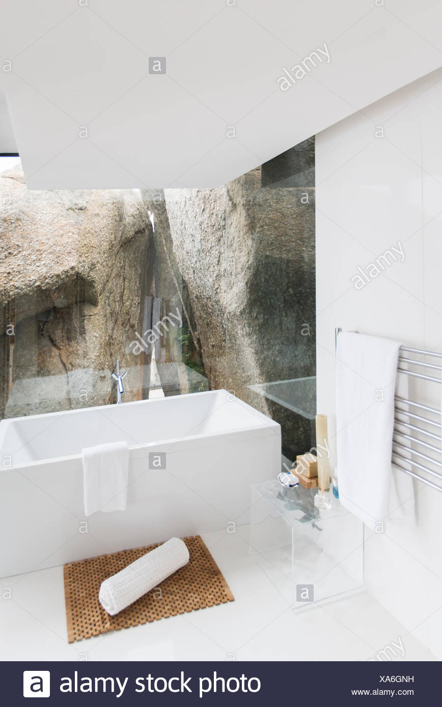 Bathtub And Rock Feature Of Modern Bathroom