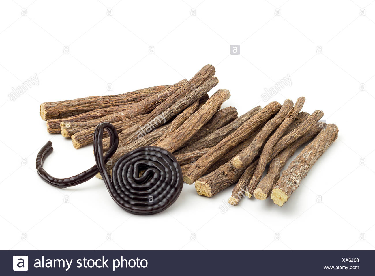 Licorice roots and wheel - Stock Image