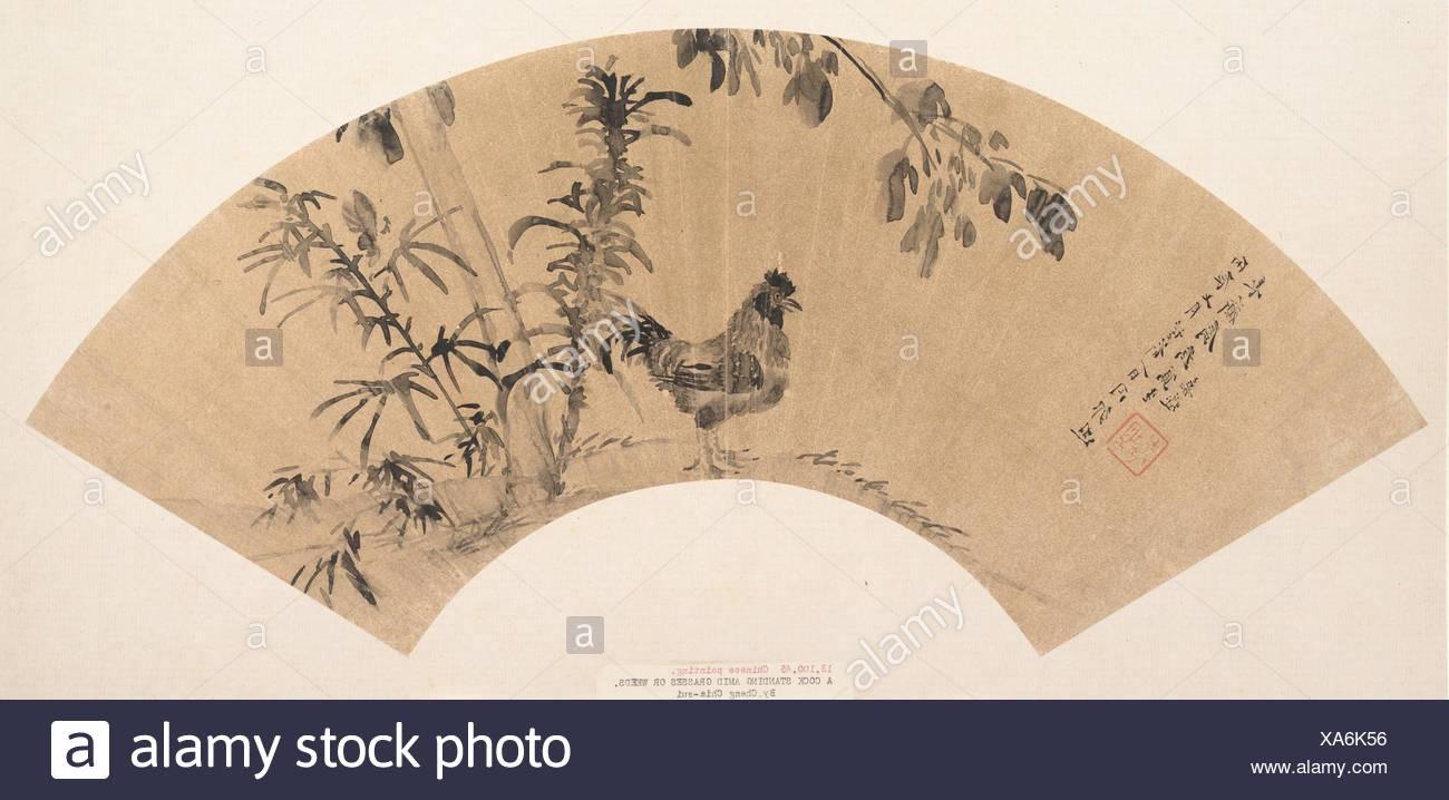 明 (傳)程嘉燧 é‡'箋水墨公鷄åœ-扇頁. Artist: Attributed to Cheng Jiasui (Chinese, 1565-1644); Period: Ming (1368-1644)-Qing - Stock Image