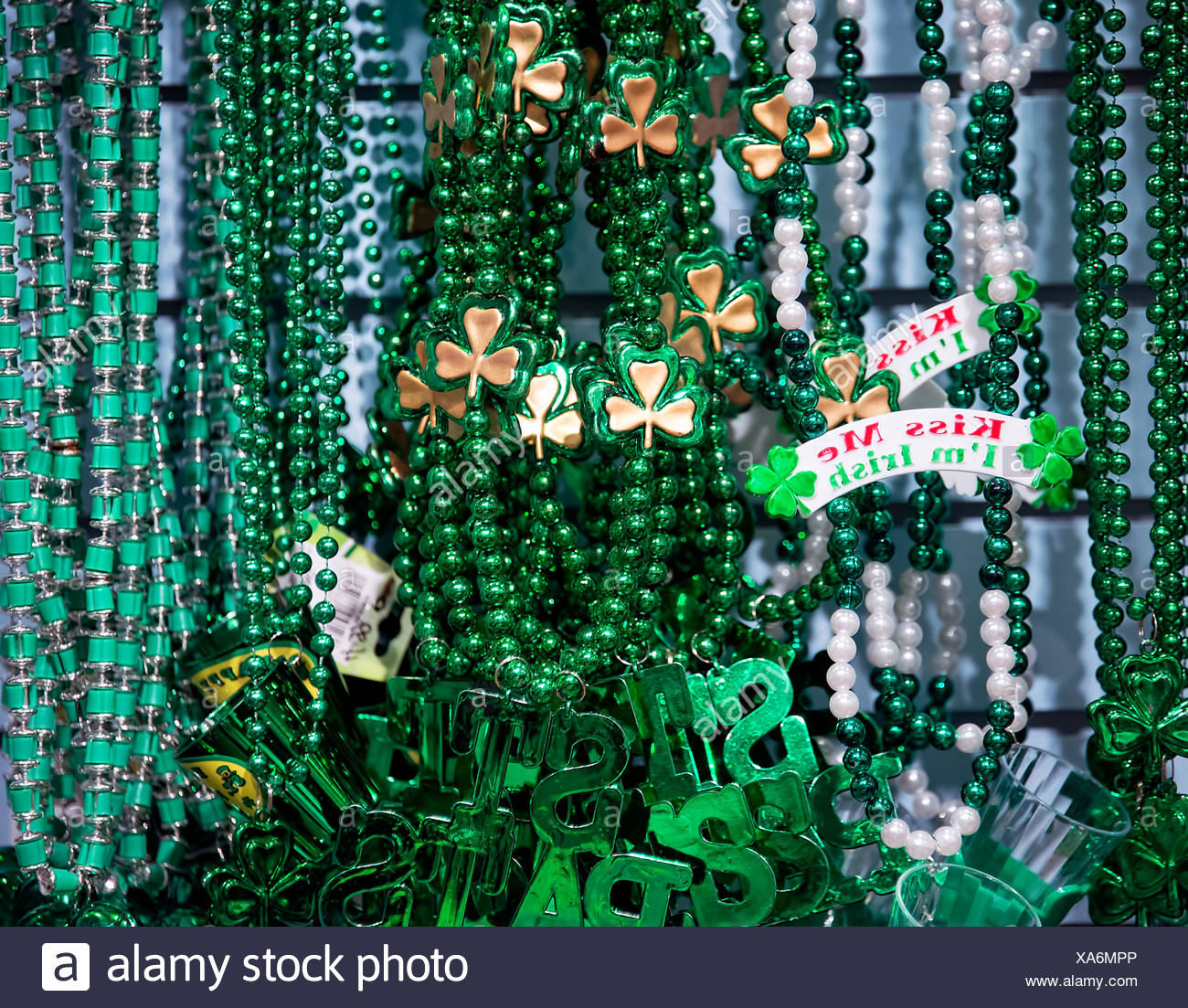 St Patrick's Day trinkets. - Stock Image