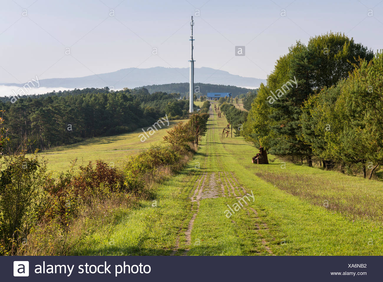 Former inner German border, death zone with border patrol path, art project 'Path of Hope', Point Alpha Memorial, Geisa - Stock Image