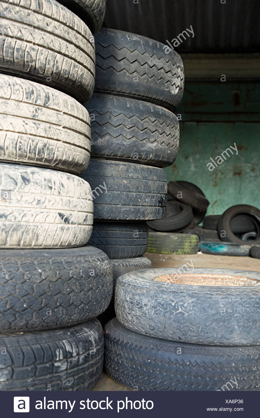 Stack of tyres - Stock Image
