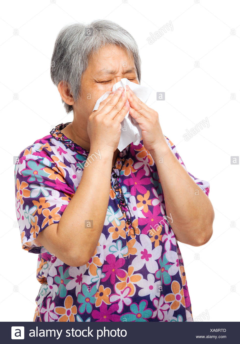 woman, hairy, cold, catarrh, nose, chinese, japanese, asian, tissue, sneeze,
